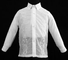 White Jusilyn Boy's Barong Tagalog #8050 A sharp style for an impeccable formal look. #BarongsRUs #barong