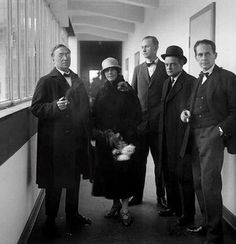 Left to Right: Wassily Kandinsky, Nina Kandinsky, Georg Muche, Paul Klee, Walter Gropius, Dessau, 1926.
