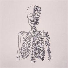 Image about art in illustration by Jessica Volschenk Skeleton Drawings, Art Drawings, Skeleton Flower, Desenho Tattoo, Oeuvre D'art, Art Inspo, Line Art, Art Projects, Illustration Art