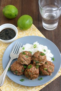 Asian Turkey Meatballs with Lime Sesame Dipping Sauce - Decadent Dining Daily