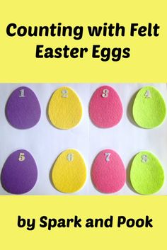 Toddlers and preschoolers can practice counting skills with these felt eggs and stickers...also makes a great busy bag!