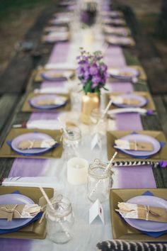 Pretty place settings at a tribal birthday party!  See more party planning ideas at CatchMyParty.com!