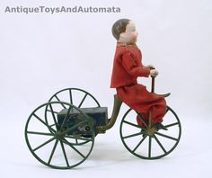 1860s American Boy on Velocipede For Sale: http://www.antiquetoysandautomata.com/1860s-EARLY-AMERICAN-BOY-ON-VELOCIPEDE-RARE-CLOCKWORK-TOY-1445.htm