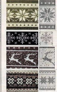 Tina's handicraft : 30 patterns knittin &crochet - fair isle knittings Fair Isle Knitting Patterns, Knitting Charts, Knitting Stitches, Knitting Yarn, Knit Patterns, Double Knitting Patterns, Knitting Machine, Tapestry Crochet, Crochet Chart