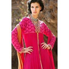 Pink Net & Faux Georgette Salwar Kameez