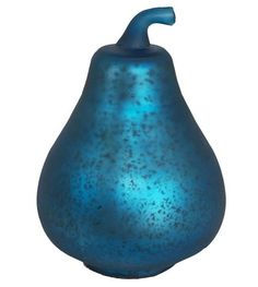 "Cool New 6"" Decorative Mercury Glass Pear, Blue/Turquoise~Looks Great Anywhere!"