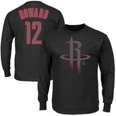 Majestic Dwight Howard Houston Rockets Color Pop Name and Number Long Sleeve T-Shirt - Black