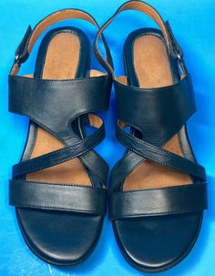 Naturalizer Tenor Womens Sandals Leather Wedge Navy Blue Faux Snakeskin Sz 9.5M #Naturalizer #PlatformsWedges #Casual