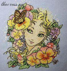 Схема для вышивки крестом. Cross stitch pattern. Девушка - лето