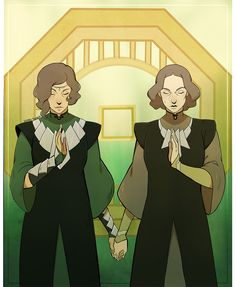 Beifong sisters in their Zaofu outfits>>>>one problem, lin don't have her mark