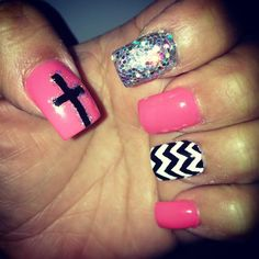 Pink black white glitter cross chevron nail design