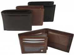 NEW Mens//Gents Soft BROWN Nappa Leather WALLET by Oakridge Coin Section Tabbed