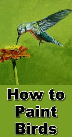 Learn how to paint birds (hummingbird) in acrylic in this online art lesson. art class, painting tutorial