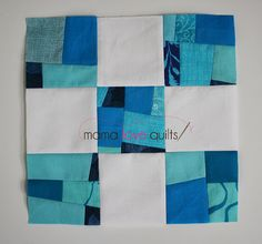 "Tut for a ""remixed"" 9 patch from Mama Love Quilts: this one will use scraps, even very small ones."