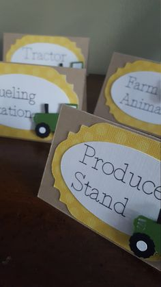 John Deere tractor table tents * tractor party * John Deere birthday party * table tents * food signs * John Deere * tractor baby shower by declanandsmith on Etsy