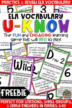 Students love playing this FREE U-Know game for fun REVIEW of ELA vocabulary or for test prep. It's a perfect activity for any small group or station, and great for early finishers. ELA Vocabulary U-Know is a fun learning game played similar to UNO except if you get an answer wrong, you have to draw two! Students will beg to practice vocabulary in this way! Available in MANY other topics, too!