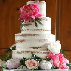 Semi naked, less is more wedding cake