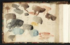 Joseph Mallord William Turner 'Colour Trials', 1794 (Inside front cover of sketchbook) Turner Watercolors, List Of Paintings, Joseph Mallord William Turner, Artist Sketchbook, Landscape Paintings, Landscapes, Cool Drawings, Painting Inspiration, Color Mixing