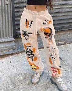 Tomboy Fashion, Teen Fashion Outfits, Retro Outfits, Streetwear Fashion, Trendy Outfits, Fashion Pants, Trendy Teen Fashion, Fashion Sweatpants, Cute Sweatpants Outfit