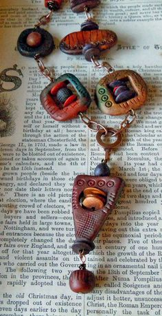 copper and polymer pendant by aMused creations Polymer Clay Kunst, Polymer Clay Necklace, Polymer Clay Pendant, Fimo Clay, Polymer Clay Projects, Polymer Clay Creations, Polymer Clay Beads, Precious Metal Clay, Ceramic Jewelry