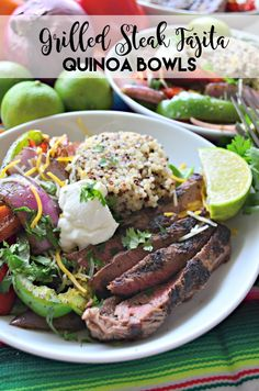Fire up the grill, and make my fun twist on a classic recipe for Grilled Steak Fajita Quinoa Bowls in less than 30 minutes! Best Beef Recipes, Ground Beef Recipes, Grilling Recipes, Mexican Food Recipes, Lamb Recipes, Favorite Recipes, Steak Fajitas, Grilled Steak Recipes, Grilled Meat