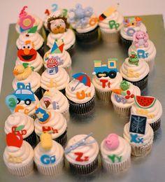 cupcak cake, baby shower cupcakes, alphabet cupcakes, alphabet birthday cake, food
