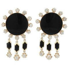 Preowned 1.40ct Diamond And Onyx, 14k Yellow Gold Drop Earrings -... (€2.295) ❤ liked on Polyvore featuring jewelry, earrings, yellow, yellow gold earrings, vintage diamond earrings, vintage clip earrings, diamond earrings and yellow gold diamond earrings