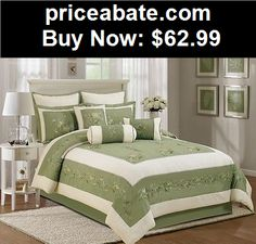 Bedding: Chezmoi Collection 7pcs Olive Green Beige Embroidered  Floral Comforter Set King - BUY IT NOW ONLY $62.99