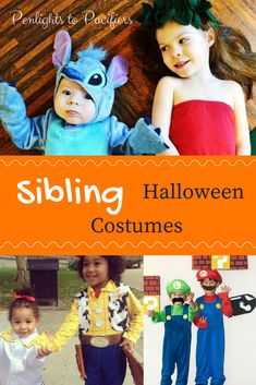 Halloween Costumes for Babies and Toddlers Easy and cute coordinating Halloween costumes for siblings. Ideas for two boys, sisters, and boy/girl pairs. Sister Halloween Costumes, Toddler Costumes, Halloween Costumes For Girls, Baby Halloween, Pretty Halloween, Halloween Ideas, Halloween 2019, Halloween Nails, Baby Boy Costumes
