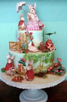 This is a very Beautiful cake that is inspired by the Peter Rabbit Book.this is suck a beautifully done cake every detail is so impeccably done. Gorgeous Cakes, Amazing Cakes, Amazing Art, Beatrix Potter Cake, Peter Rabbit Cake, Carousel Cake, Painted Cakes, Just Cakes, Novelty Cakes