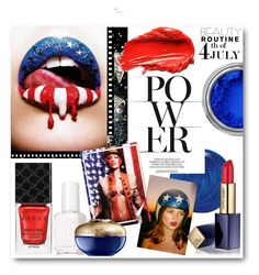 #Red, White & Blue Beauty by nikkisg on Polyvore featuring beauty, Estée Lauder, Guerlain, Gucci, Essie, Urban Decay, Chanel, redwhiteandblue and july4th