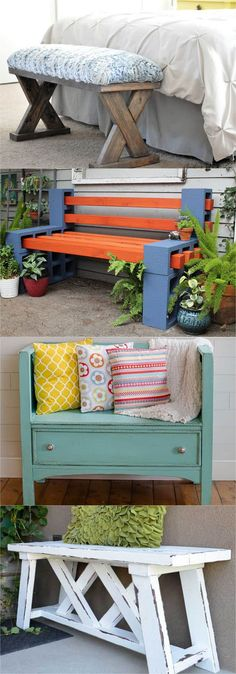 21 beautiful DIY benches for every room! Best tutorials and plans on how to build indoor benches, garden benches, and benches with storage easily out of wood, concrete blocks, crates, or even old headboards and dressers. Lots of beginner friendly DIY bench ideas!