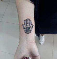 Small Hamsa Tattoo on Wrist