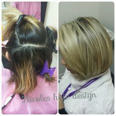 before - 2 inches of dark regrowth with old yellow foils..  after - a full head of fine foils got her to a gorgeous natural looking blonde!