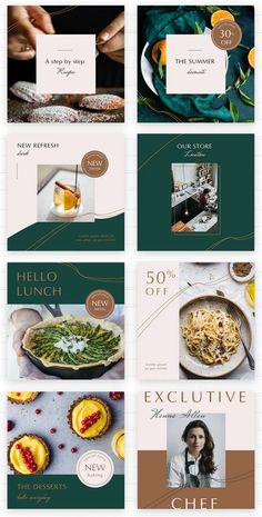 The Rosemary social media graphic templates - Design Template Place Food Catalog, Instagram Design, Instagram Posts, Food Menu Design, Social Media Page Design, Instagram Post Template, Presentation Design, Golden Rice, Psd Templates