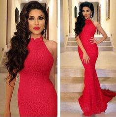 Hot Sexy Red Lace Prom Dresses Michael Costello Mermaid Evening Wear High Neck Formal Dresses Evening Prom Gowns Custom Made