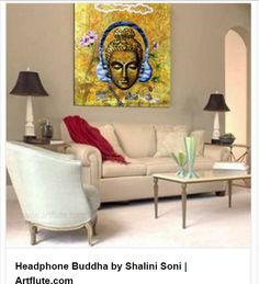 Shalini Soni Mazumdar's brings together seeming opposites- gadgets of modern day life with the tranquil visage of the Buddha in her artwork Headphone Buddha. A fan of mixing elements from her training in Rajasthani miniature painting with other visual languages, her work is open to multiple interpretations.  #artflute #NoMoreEmptyWalls #art #homedecor #buddha #contemporary #yellow #colourful #flowers #paintings