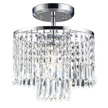 Elk Lighting Optix One-Light Semi-Flush Chandelier - Optix Chandelier is part of a vibrant and unique crystal collection made with stunning leaded crystal and a polished chrome finish. Accepts one medium base bulb (not included). Semi Flush Ceiling Lights, Flush Mount Ceiling, Elk Lighting, Flush Mount Lighting, Ceiling Lighting, Lighting Direct, Lighting Stores, Closet Lighting, Modern Lighting