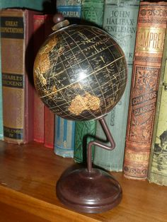 Vintage style 31cm high spinning world globe map earth on metal vintage style 17cm high spinning black world globe map earth curved metal stand gumiabroncs Gallery