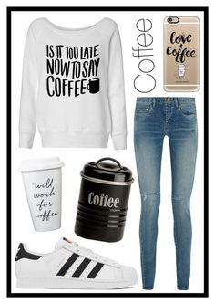 """#347 coffee"" by xjet1998x ❤ liked on Polyvore featuring adidas, Casetify, Typhoon and Yves Saint Laurent"
