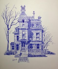 """""""The George Lord Little House, Kennebunk, Maine"""". Drawn with a blue Zebra F301 ballpoint pen on a 9x12 inch sheet of smooth Bristol board. 158/200. #sketchoftheday #sketchaday #sketch #sketches #sketching #sketchbook #draw #drawing #drawings #drawingaday #drawingoftheday #architect #archidaily #architects #architecture #architecturelovers #urbansketch #urbansketching #urbansketchers #maine #mainelife #mainecoast #penandink #ballpoint #ballpointpen #ballpointpenart"""