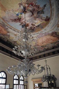 venice italy murano glass chandilers | Ceiling and Chandelier at the Murano Glass Museum | Flickr - Photo ...