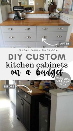 You can hack in-stock kitchen cupboards from a big box store to get a custom kitchen look. Here's how to cut down the depth of a base cabinet to make it right for you. Kitchen Cabinets On A Budget, Diy Cabinets, Base Cabinets, Kitchen Cupboards, Kitchen Island, Old Kitchen, Updated Kitchen, Kitchen Decor, Kitchen Ideas