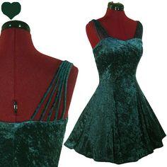Vintage 80s 90s GREEN Crushed Velvet GRUNGE Party Dress S Prom FULL SKIRT Indie | eBay