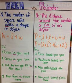 This a cool chart idea to show the difference between perimeter and area. I think it's a good thing for math teachers to use in and grades. Math Teacher, Math Classroom, Teaching Math, Maths, Teaching Ideas, Classroom Ideas, Math Charts, Math Anchor Charts, Math Strategies