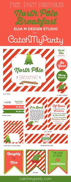 Free Printables for an Elf on the Shelf North Pole Breakfast. #familychristmas #freeprintables #elfontheshelf  | CatchMyParty.com