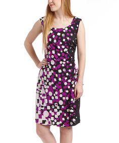 Look what I found on #zulily! Black & Purple Geo Scoop Neck Dress by Rabbit Rabbit Rabbit Designs #zulilyfinds