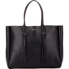 Lanvin Tassel-Handle Extra-Large Shopper (£1,075) ❤ liked on Polyvore featuring bags, handbags, tote bags, black, black tote bag, leather tote, black purse, shoppers and black tote
