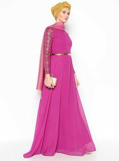 Rosie Pink evening hijab dress