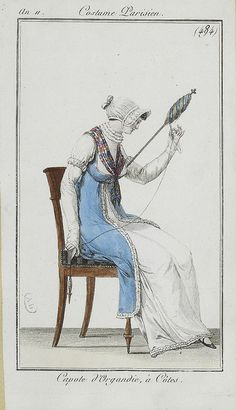 1803, spinning with a hand spindle and distaff.